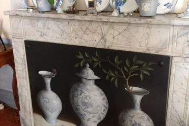 Blue and White Pots I, Oil on Board