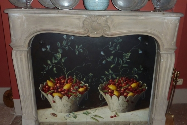 Stone Baskets with Cherries, Oil on Board