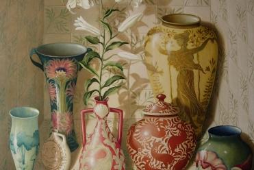 Arts & Crafts Vases, Oil on Board