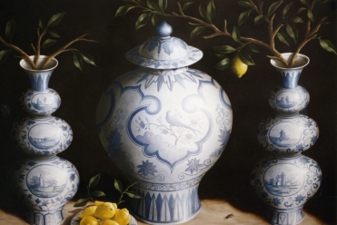 Blue and White Pots II, Oil on Board